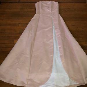 Blush/Peach and White Satin Ball Gown